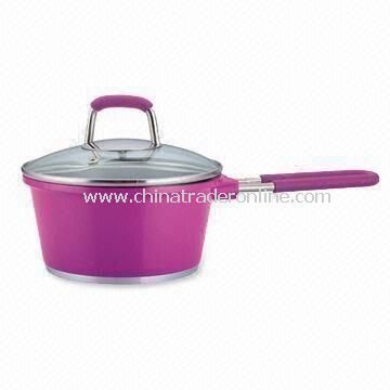 Aluminum Die-cast Non-stick Saucepan with Fashionable Design Glass Lid