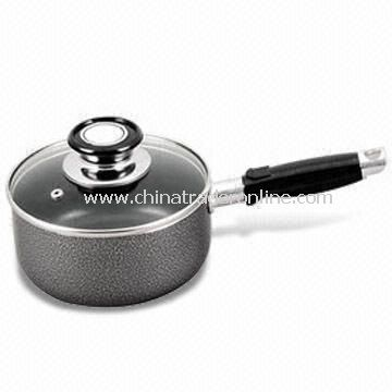 Aluminum Milk Boiler/Saucepan with Glass Lid, Non-stick Coating, Fast Heat Transfer