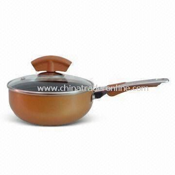 Aluminum Sauce Pan, Inside Non-stick Coating, Available in Optional Size of 14 to 24cm