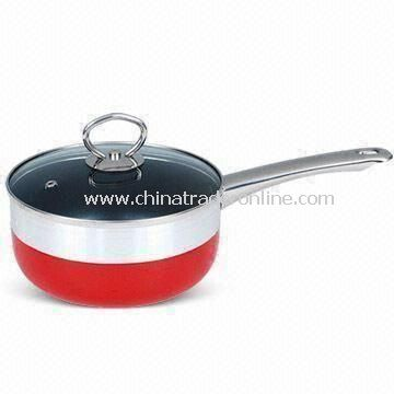 Aluminum Saucepan with 2.0, 2.5, 3.0mm Thickness and Heat-resistant Glass Lid