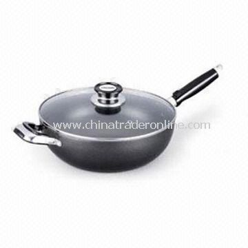 Aluminum Wok/Sautepan with Glass Lid, Non-stick Coating, Fast Heat Transfer