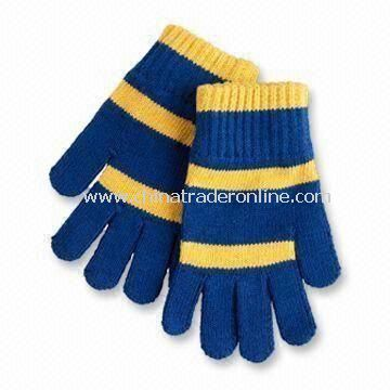 Boys/College Knitted Gloves, Made of 100% Cotton with 7GG Gauge