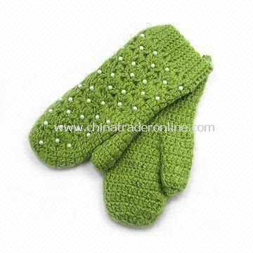 Knitted Gloves, Available in Customized Design, Made of 100% Cotton