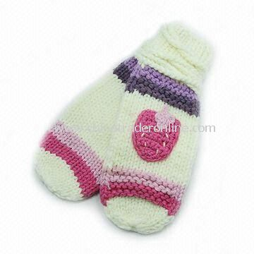 Knitted Gloves, Made of 100% Cotton, Available in Customized Design