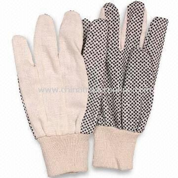 PVC Dotted Gloves, Made of Cotton, Customized Logos are Accepted