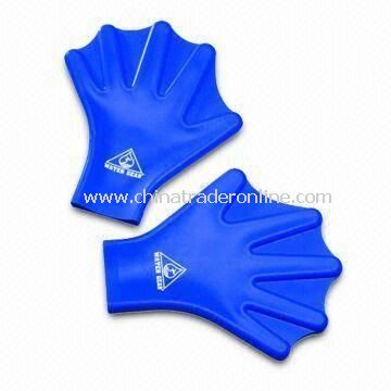 Swimming Gloves, Made of Silicone Flexible Material, Adult and Children Sizes Available