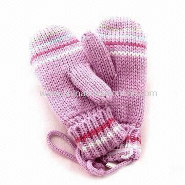Winter Gloves, Made of 100% Cotton and Wool, Customized Designs are Accepted