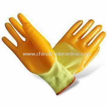 13g Seamless Polyester Natural PVC Working Gloves with Palm-coated, Available in Different Sizes