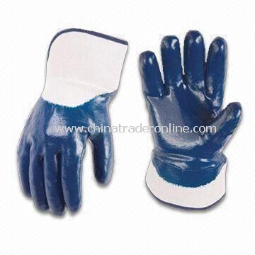 Blue Safety Gloves, Made of PVC, with Silkscreen Logo Printing and Abrasion Resistance