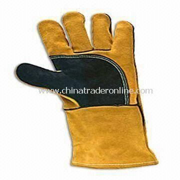 Cow Split Leather Safety Gloves, Customized Colors are Accepted, OEM Orders are Welcome