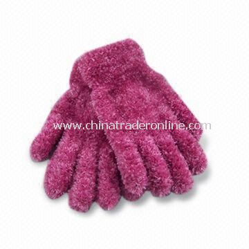 Fashionable Feather Yarn Knitted Magic Winter Gloves in Various Colors, Made of Polyester/Spandex