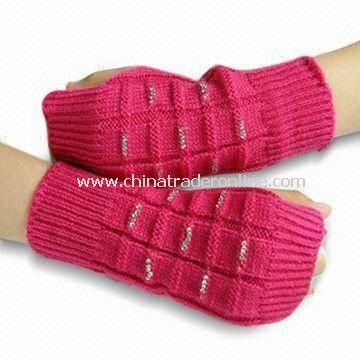 Fashionable Knitted Gloves, Made of 100% Cotton and Wool with Beads Design