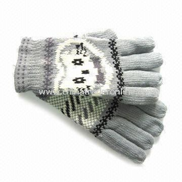 Fashionable Knitted Gloves, Made of Acrylic, with Jacquard Weave, Customized Designs are Accepted