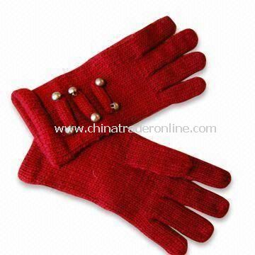 Fashionable Knitted Gloves with Non-function Button