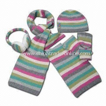 Fashionable Stripe Knitted Scarves with Hat, Gloves and Earmuffs, Measures 180 x 20cm from China