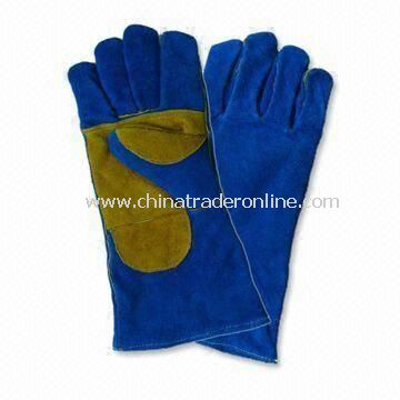 Full lining Welding Gloves, Made of Blue Cow Split Leather, Available in 14 Inches