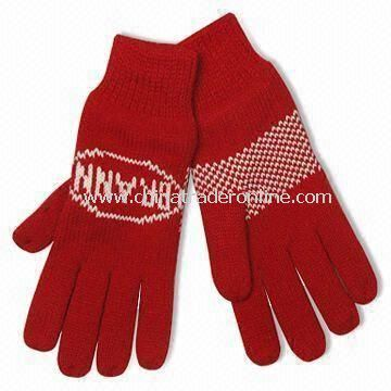 Knitted Gloves in Fashionable Design, Made of 100% Cotton