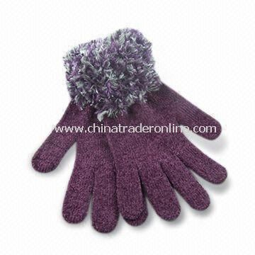 Ladies Feather Cuff Chenille Winter Gloves in Fashionable Design, Various Colors are Available