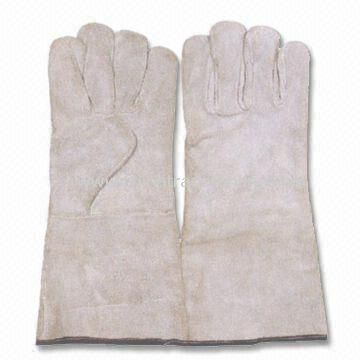 Leather Welding Gloves, Made of Split Leather, Available in Red, Blue and Gray