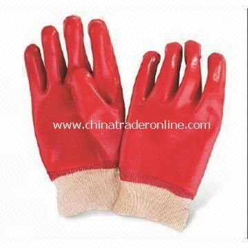 PVC Coated Gloves with Interlock or Jersey Lining, Acid-, Alkali- and Alcohol-resistant