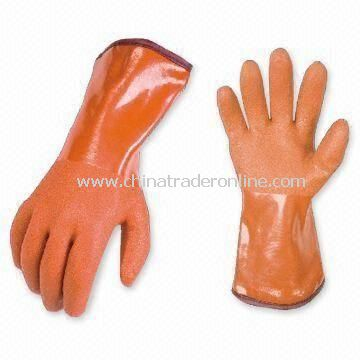 PVC Gloves with Spray Sand Finish, Available in Various Colors and Sizes