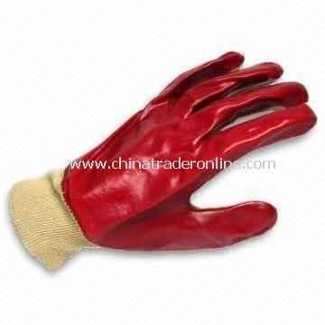 PVC Knit Wrist/Safety Gloves with Full PVE Coating