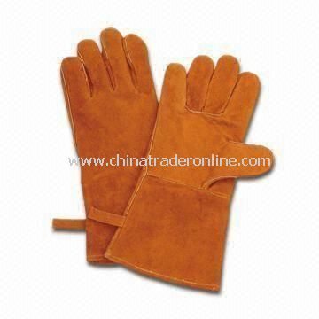 Welding Gloves, Made of Cow Split Leather in Brown, Full Palm and Cotton Full Lined