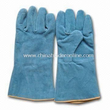 Welding Gloves, Made of Leather, Also Used for Cutting and Flitting Purposes, with 35cm Length