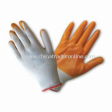 White Polyester Lined Gloves with PVC Coating