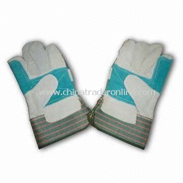 Working Gloves, Made of Cowhide Leather, Double Palm, Available in Various Colors