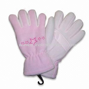 100% Polyester Fleece Winter Glove with TR Lining, Stars Embroidery on Both Hands