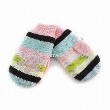 Baby Machine Knitted Mitten with 1 x 1 Rib Single Cuff and Micro Fleece Lining