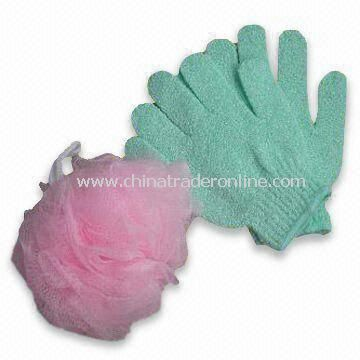 Bath Gloves, Customized Sizes and Weights are Accepted, Made of Nylon