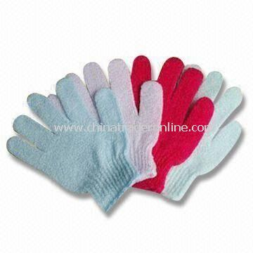 Bath Gloves, Made of Nylon, Customized Sizes and Weights are Accepted