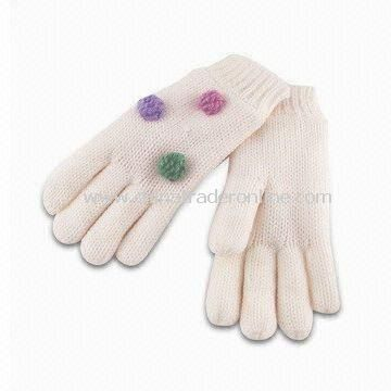 Childrens 2/24 100% Acrylic Machine Knitted Gloves, Micro Fleece Lining with 5gg 3-ply