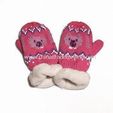 Childrens Gloves, Made of Acrylic and Fleece, Customized Sizes are Accepted