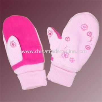 Double-Layer Polar Fleece Gloves with Embroidery