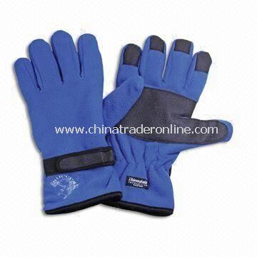 Fleece Gloves with Embroidery, Made of Polyester, Suitable for Winter