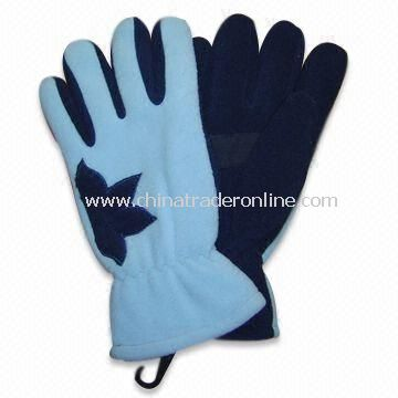 Fleece Winter Glove with Flower Application on Both Hands, Suede Palm