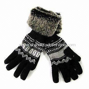 Knitted Gloves with Faux Fur Cuff and Fleece Lining, Made of 100% Acrylic