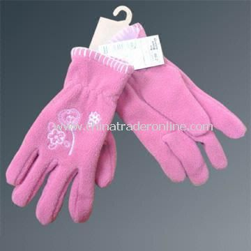 Polyester Polar Fleece Gloves with Embroidery