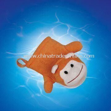 Terry Bath Glove in Monkey Design, Measures 20 x 14cm, OEM Design is Acceptable