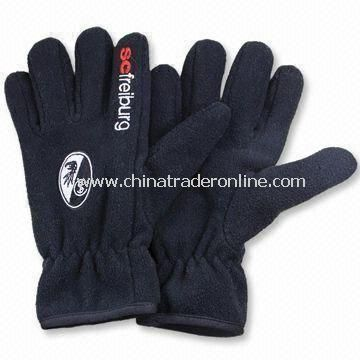 Winter Fleece Gloves with Embroidery, Made of Polyester