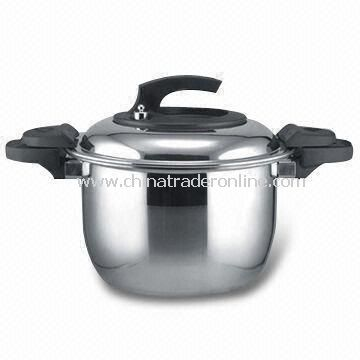 Pressure Cooker with Mirror Finish, Made of 2-layer Stainless Steel