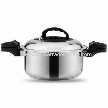 Stainless Steel Pressure Cooker with 5L Capacity, 24cm Diameter and 5.35mm Bottom Thickness