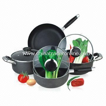7-piece Non-stick Cookware Set with 24cm Fry Pan and 16cm Saucepan from China