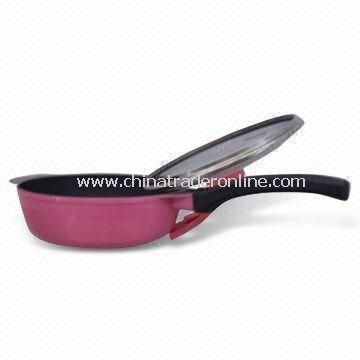 Deep Fry Pan, Made of Non-stick Aluminum with Combination Glass Lid