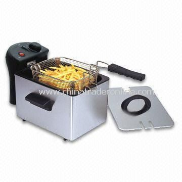 Deep Fryer/Large Frying Basket with VDE Plug, Insulated Handle and Cooling Zone