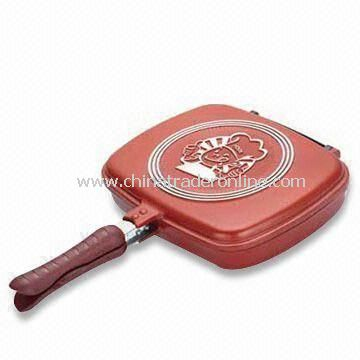 Double Fry Pan with Bakelite Handle, Made of Non-stick Aluminum