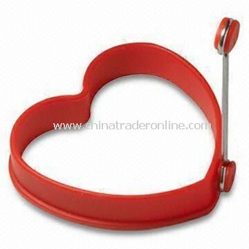 Heart-shaped Egg Ring, Made of Silicone, Measures 98 x 96 x 19mm